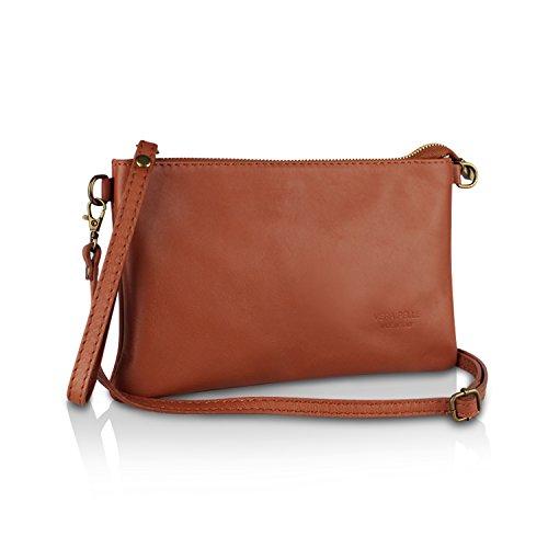 Gloop Damen Clutch echt Leder Tasche Abendtasche mit Kette Handtasche Umhängetasche Made in Italy 1.009.1 Braun