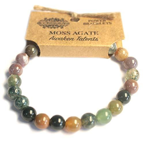 Ancient Wisdom Kraft - Power - Chakra Armbänder/Dehnbar / 8mm Naturstein - Für Ihr Wohlbefinden - Moosachat