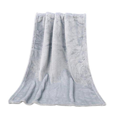 Squarex carré doux et chaud solide chaud Micro en peluche Polaire Couvre-lit Tapis Canapé lit enfants Lapin à tricoter Couverture A:50X70CM gris