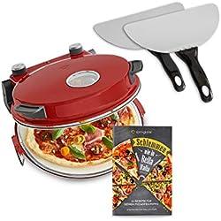Four à Pizza électrique Peppo, 1200W, pour des pizzas comme au four en pierre à 350°C, avec minuterie et voyant y deux grandes pelles à pizza - rouge
