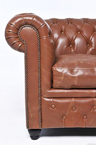 Original Chesterfield Sofas und Sessel – 1 / 2 / 2 Sitzer – Vollständig Handgewaschenes Leder – Vintage Mokka