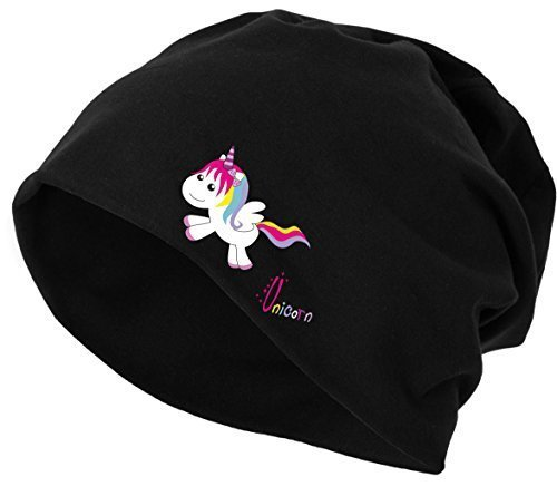Jersey Beanie Mütze Wintermütze Stretch Einhorn Unicorn happy