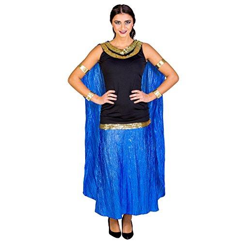 Frauenkostüm sexy Ägypterin | langes Kleid im antiken Style | Pailletten an Kragen und Hüfte | angenähter Umhang (XXL | Nr. (2017 Halloween Paare Beliebte Kostüme)