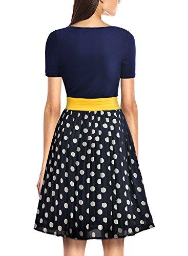MIUSOL Damen Sommerkleid Kurzarm Chiffon Retro Polka Dots Faltenrock A Linie Mini Kleid Dunkelblau Gr.L -