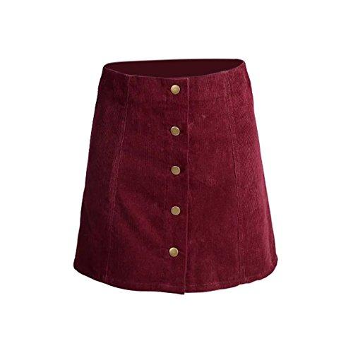ROPALIA Femmes Vintage A-Line Haut De Taille Bouton Avant Mini Jupe