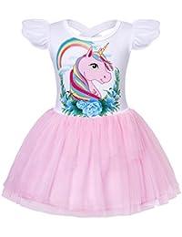 Jurebecia Ragazze Unicorno Arcobaleno Tulle Abito Estivo Manica Corta Abito  tutù Compleanno Festa Fiore Abiti da 1449368a540