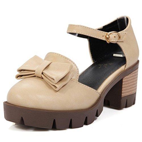 COOLCEPT Femme Classique Sangle De Cheville sandales Talon Bloc Plateforme Chaussures Avec Bow taille Beige
