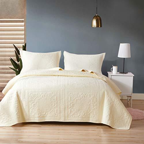 Unimall copriletto 3 pezzi completo trapunta 250*270cm con due federe in puro cotone per letto due piazze matrimoniale bianco