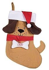 Idea Regalo - Carino cucciolo di cane calza di Natale peluche con orecchie e cappello di Babbo Natale–altezza 43,2cm