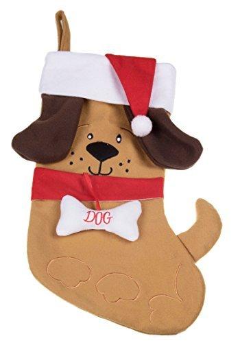 Carino cucciolo di cane calza di natale peluche con orecchie e cappello di babbo natale–altezza 43,2cm