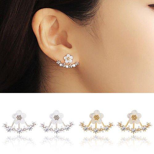 Damen-Ohrringe Ohrstecker Silber Blumenform 3D