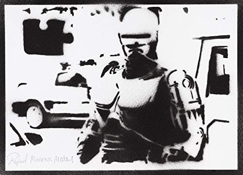 Póster Robocop Grafiti Hecho A Mano - Handmade Street Art - Artwork