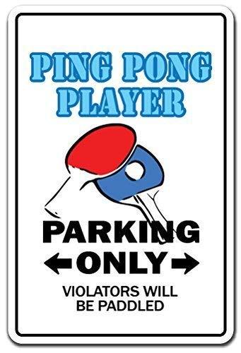 WSMsign Ping Pong Spieler-Geschenk, Tischtennisball, Paddle Team Champion, Champion, Warnschilder für Gefahrenhaus, Hausdekoration, Yard Caution Notice Schilder, lustige Metallschilder, 8x12