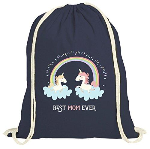 Einhorn Muttertag natur Turnbeutel mit Unicorn Best Mom Ever Motiv von ShirtStreet dunkelblau natur