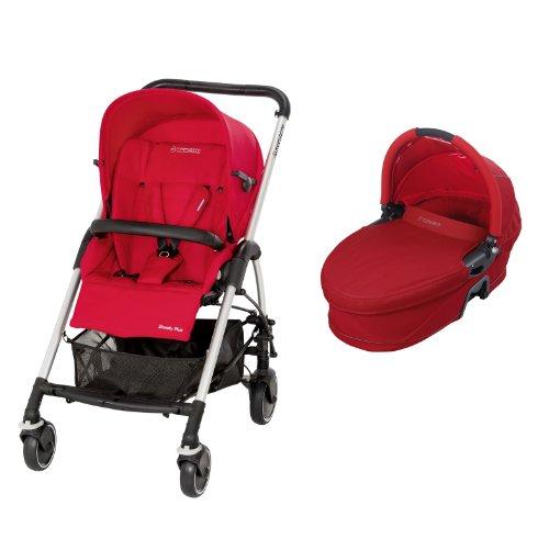 Maxi-Cosi 19883860 Streety Plus Set - Carrito convertible con capazo y silla de paseo, incluye capota, protector para la lluvia, cesta de la compra y adaptador para capazo, color rojo