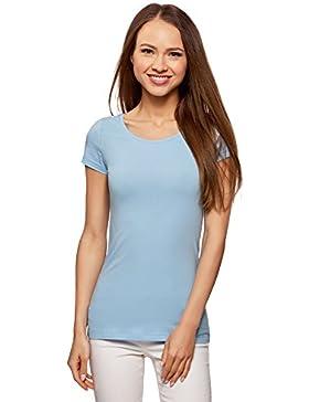 oodji Ultra Mujer Camiseta Básica Entallada