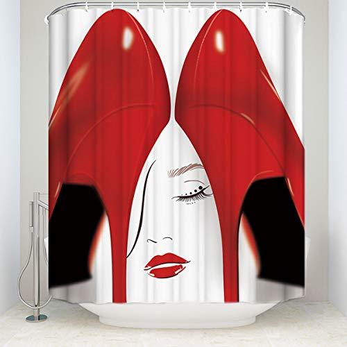 YS753 Rote High Heels Duschvorhang mit 12 Haken Polyester Stoff Sexy Frau wasserdicht Mildew Proof opak Datenschutz Badezimmer Vorhänge für Home Decor (1967 Set Proof)
