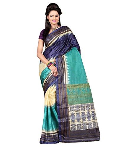 Saree (SRP Fashion Selection Women Art Silk Saree Without Blouse(Nevy blue))