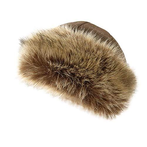 JUTOO Damen Mädchen Wintermütze Fleece Mütze mit Kunstpelzbesatz Cloche Hut mit Kunstpelz (Damen Fleece Cloche Hut)