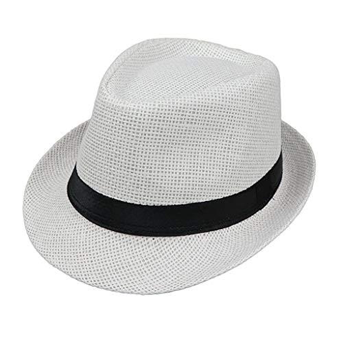 JOYKK Kinder Strohhut Sommer Strand Jazz Panama Trilby Fedora Hut Gangster Mütze Im Freien Atmungsaktive Hüte Mädchen Jungen Sonnenhut - B # Weiß