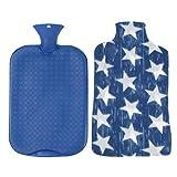 P Prettyia Große Wärmflasche mit Bezug, 3 Liter, Wärmetherapie - Blau