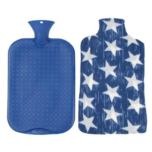 FLAMEER Große Wärmflasche Bettflasche Wärmkissen Flasche mit Überbezug, 3 Liter, Sicher und Explosionsgeschützt - Blau