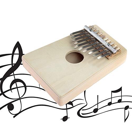 Lorenlli 10 Tasten Mini Kalimba Mbira Likembe Sanza Daumen Klavier Kiefer Hellgelb Großes Geschenk Musikinstrument Hand Finger Klavier