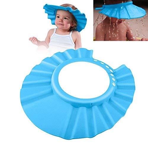 Baby Badekappe Bade Schutz Kopf Dusche Wasser Abdeckung einstellbar für 0-9 Jahre 'Kids für Babypflege (1 Pack, blau) -
