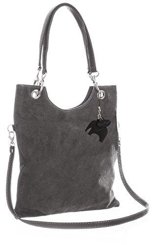 Big Handbag Shop in pelle scamosciata, Maniglia superiore sera frizione borsa a tracolla, grigio (Dark Grey (ST553)), Taglia unica