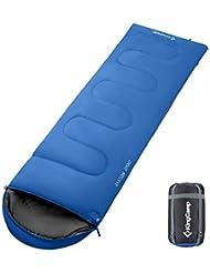KingCamp Saco de Dormir Rectangular Oasis 200 por 3 Temporadas Bolsa de Dormir Encapuchad para Camping, Excursiones, Viajes, (190 + 30) x 75cm