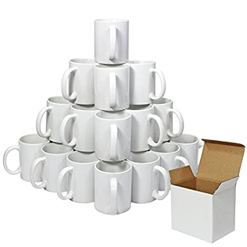 PixMax Blank Polymer Coated 11oz Sublimation Mugs & Gift Boxes, 36 Pack, AAA Grade