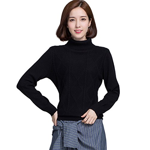 Black Cashmere Turtleneck Pullover (Panreddy Women's Cashmere Knitted Pullover Turtleneck Sweaters JA16)