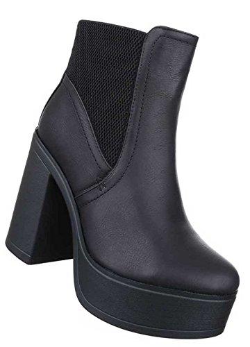 Senhoras Botas Stiefeletten Sapatos Planalto Preto 36 37 38 39 40 41