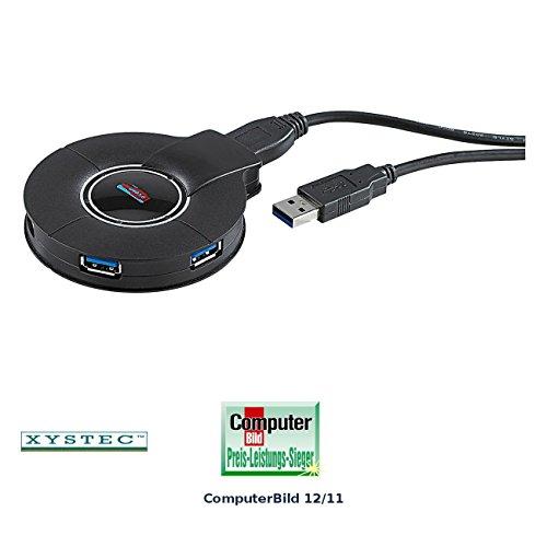 Xystec Aktiver Super-Speed USB-3.0-Hub mit 4 Ports