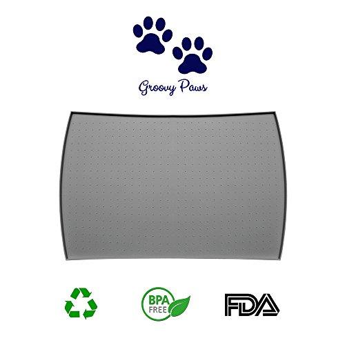 GroovyPaws, tappetino antiscivolo per ciotole di cani e gatti, per evitare sporco e disordine, impermeabile, grigio