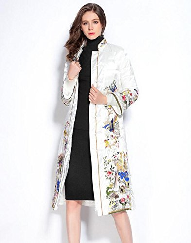 ZZHH Air collar embroidered white duck down long plate, China Women's buckle dress down jacket coat