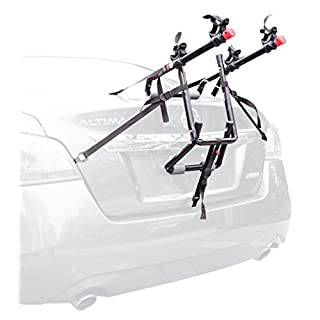Allen Sports USA Deluxe 2-Bike Trunk Mounted Bicycle Carrier for Automobile with Side Straps - Black