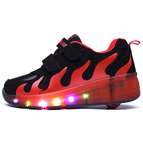 LikeYou Kinder Erwachsene LED Schuhe leuchten Räder Rollschuh blinken Mode Sneakers für Unisex Schwarz + Rot