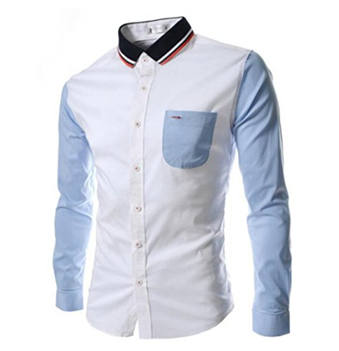 Men's Cuff Long Camisa Knitted Collar Shirts white