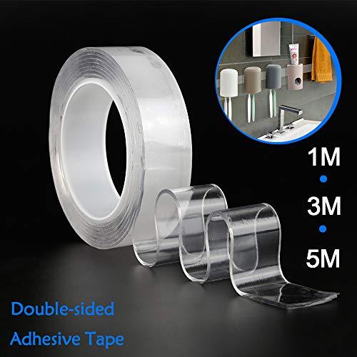 Doppelseitiges Multifunktions-Nano-Klebeband, spurlos waschbar Abnehmbare Halterung Rutschfeste, unsichtbare Gel-Unterlage zur Befestigung von Teppich-Telefon-Fotopostern (1m) -
