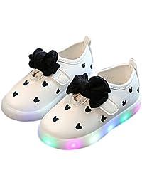 Zapatos de niños, Calzados/Zapatillas/Sandalias de niños Zapatos Ocasionales de Las Muchachas del bebé con los Zapatos Ligeros Respirables LED Luminosos del Bowknot del LED