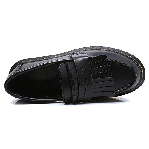 Smilun Chaussures Femme Moccasin Bateau Frange Classic Plat Noir
