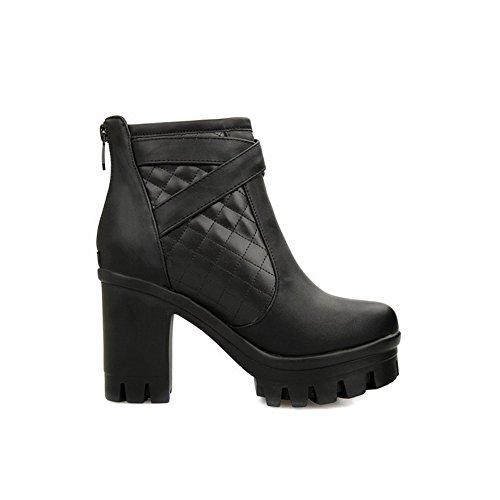 AllhqFashion Damen Hoher Absatz Niedrig-Spitze Rein Reißverschluss Stiefel mit Metallisch, Schwarz, 39