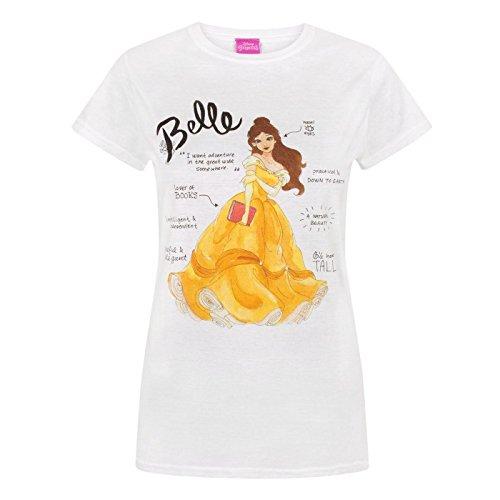 44d45427921c55 Disney - Maglietta de La Bella e La Bestia con Belle (Versione Inglese) -  Donna (XL) (Bianco)