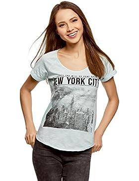 oodji Ultra Mujer Camiseta con Estampado Urbano y Borde Inferior No Elaborado