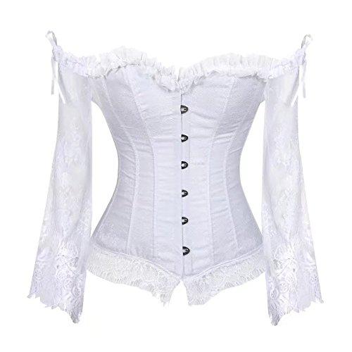 sett corsage hochzeit schnürmieder Ärmel burlesque top damen fasching Weiß l (Billig Sexy Damen Halloween Kostüme)