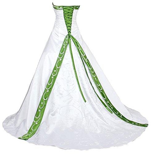 Faironly H9 Frauen trägerloses Stickerei Hochzeitskleider (M, Weiß Grün)