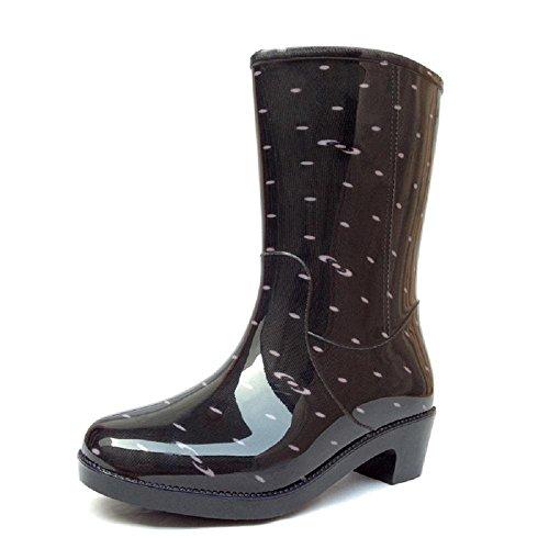Moda Slim acqua scarpe canna lunga antiscivolo stivali stivali stivali di gomma delle donne Black