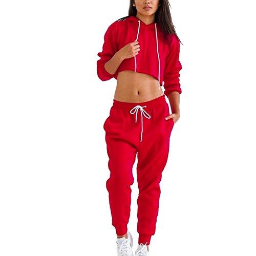 Dihope Femme 2 Pièce Survêtement Top à Manches Longues + Pantalon Longues pour Sport Fitness Yoga Rouge
