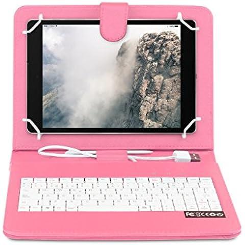 OME® Funda con teclado Tablet 9 pulgadas con conexión MicroUsb-OTG (Rosa)